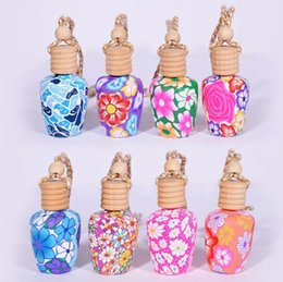 Wholesale Pottery Bottles - 15ml Mix Color Car Hanging Decoration Pendant Pottery Essential Oils Perfume Bottle High Quality Ceramic Glass Hang Rope Empty Bottle