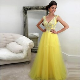 Plunging V Neckline Prom Dresses Long Sexy Tulle Evening Dresses A Line  Sequins Crystals Prom Gowns Beads Floor Length Vestidos discount line prom  dress ... 26ff4b115