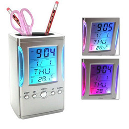 Wholesale Thermometer Calendar Pen Holder - Colorful LCD Display Electronic Digital Desk Table Calendar Thermometer Alarm Clock Pen Pencil Holder