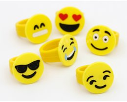 Wholesale Cheap Rubber Toys - DHL- Emoji Smile Face Finger Ring Yellow Rubber Jelly Rings Boys Girls Cute Mini Fashion Rings Children Cheap Gift emojis Kids Finger Toys