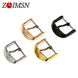 Wholesale watch band buckles wholesale - Wholesale-Men Women Pure Solid Silver Black Gold Watchbands Stainless Steel Polished Watch Bands Pin Buckle Strap 18mm 22mm 20mm K-CL147