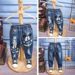 Wholesale Size Kids Legging - Fashion Kids Girls Boys Cartoon Hole Jeans Denim Trousers Pants Size 3-7 Years