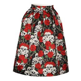 Wholesale Size Skull Dress - Hotsale ladies full skirt dresses quality expansion skirts 3d print skull flowers fashion skirt womens big size high weight skirts