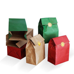 Wholesale Merry Christmas Boxes - Wedding gift bag Green Red Brown Kraft paper bags Thickened Birthday Party Treat Dessert Merry Christmas Packaging gift box 10pcs