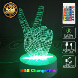 Wholesale Acrylic Light Sign - MOZA Home Decor Wood Acrylic 3D Remote Victory sign Light Led Modern Living Table Lamp Micro USB Mood Bulbing Light For Bedroom