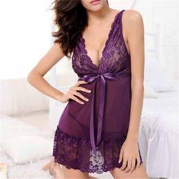 Wholesale Sleep Wear Girls - Wholesale- Fashion Sexy Women Girl Sleep Wears Lace Sleeveless Nightgown Slim Casual Nightgowns Spring Summer