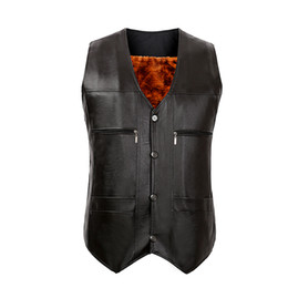 Wholesale Cheap Slim Suits - Wholesale- TG6447 Cheap wholesale 2016 new Men's leather vest the big yards father middle-aged waistcoat vest suit with velvet thickening