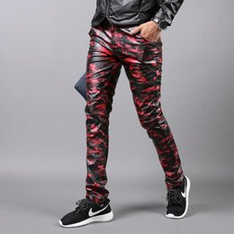 Wholesale Men Pu Pants - Wholesale- Personalized red camouflage winter pu trousers mens motorcycle leather pants casual men dress skinny pant slim fit trousers