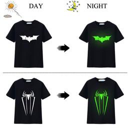 Wholesale Kids Shirts Spider - Hooyi Luminous Boys T-Shirts Bat Spider Fashion Kids Tee Shirts 4-10Years Children Blouse Boy Clothes Tops For Child 100% Cotton