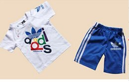 Wholesale Summer Boys Pcs Set - New 2018 100%cotton girls & boys clothing set Summer 2-pcs 2-color fashion Brand kids clothes Children's suit (T-shirt+pants)
