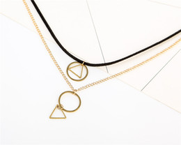 Wholesale Triangle Heart Necklace - Black Velvet Geometric Necklace With Gold Tone Chain And Round Pendant Triangle Charm Short Choker Necklace For Women