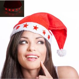 Wholesale Santa Claus Christmas Cap - Nonwoven Red Five Star Light Cap Santa Claus Easter Christmas Night Party Hat Cap Adult Size Christmas Santa Xmas Light Hat CCA7535 200pcs