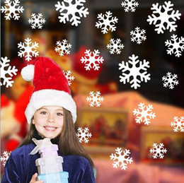 Wholesale Wall Cling Decoration - Removable Snowflake Wall Stickers Christmas Shop Window Stikers Xmas Home Decor Mural New Year Decoration 27pcs 1 Set Wholesale YW221