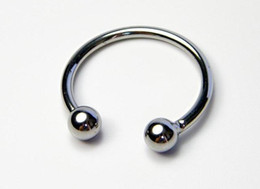 Wholesale Double Cock Rings - Double bead the glans 32,35,40mm penis chicken male penis ring Penis Cock Rings Metal Delay Ring Cockrings Fetish Sex Toys