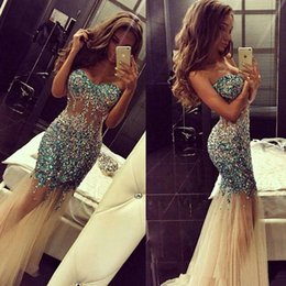 Wholesale Mermaid Brooch Silver Rhinestone - Bling Bling Rhinestone Sexy Long Prom Dresses 2017 New Hot Selling Sweetheart Mermaid Tulle Formal Evening Party Gowns Custom Made P122