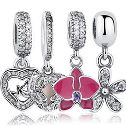 Wholesale Orchid Pendant - Wholesale- 925 Sterling Silver Angel Wings Radiant Orchid Dazzling Daisy Pendant & Charm Fit Bracelet Heart Jewelry Accessories