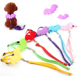 Wholesale Cute Dog Harness Leash - Pet Dog Leashes and Collars Small Dog traction belt clothing Dog Leashes Cute Angel Wing Harness Rope for Dogs Cats multicolor Pet supplies