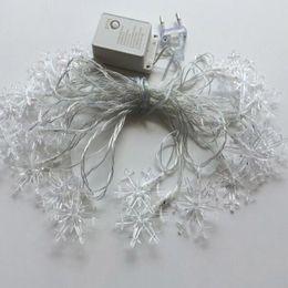 Wholesale wholesale xmas garlands - 10M 100 leds Snowflake Outdoor Navidad XMAS Fairy String Garland Christmas Tree Decorative Colorful New Year Light