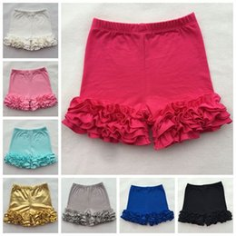 Wholesale Ruffle Pants For Baby Girls - 2017 baby girls cotton ruffle shorts solid color summer shorts gold floral ruffle pants for girls kids short girl shorts wholesale boutique
