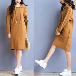 Wholesale Hoodie Cotton Sweater Dresses - Comfortable Autumn Fall Winter Women Sweater Dress Fashion Hoodies Long Sleeved Maxli Casua Dresses for Women