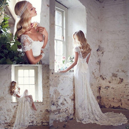 Wholesale Sexy Lace Sweetheart Wedding Dresses - 2017 Elegant Boho Beach Wedding Dresses Sequined Cap Sleeve V Neck Court Train Lace Bridal Gowns Matched Bow White Ivory Custom Made New