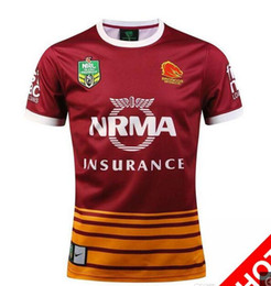 Wholesale Best Stock Shorts - New NRL National Rugby League Brisbane Home red Rugby jersey broncos best quality New in stock 2017 brisbane rugby shirts jersey S-XXXL