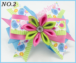 Wholesale Kanzashi Hair Clips - free shipping 20pcs 4.5''kanzashi flower layered hair clip Girl hair accessories baby hair bows Bow clips for girls