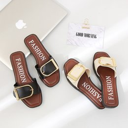 Wholesale Wholesale Nude Heels - Fashion Leather Slippers Square Buckle Plastic Summer Sandles Beach Shoes European and American wind antiskid Women Sandles