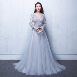 Wholesale Sexy Plus Size Club Wear - Sexy Illusion Evening Gowns Lace Formal 2017 Real Photos Prom Dresses With Applique Beads Crew Neck 3 4 Sleeves Under 100