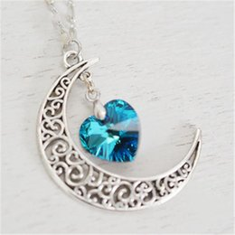 Wholesale Rustic Hearts Wholesale - 20pcs Crescent Moon Necklace Astrology Sign,Rustic Crescent Moon Charm Bermuda Blue Heart Love You to the Moon