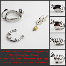 Wholesale Male Steel Chastity Bra - Steel Cock Cage Chastity Devices with New Style Base Ring Testicular Separation 4 style Penis Locking Cage Choose