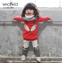 Wholesale Red Set Fox - Cute Fox Tops Pullover + Leggings Pants 2piece Set Girls Casual Suits Children Clothes Sets Long Sleeve Plus Velvet Autmn Kids Outfits A5903