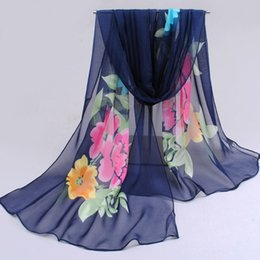 Wholesale Wholesale Sunscreen Fabric - Wholesale-Spring Silk Scarf Fashion Women New 2016 Chiffon brand Printing Fabric Flowers Summer Sunscreen foulard Scarves Shawl Scarf