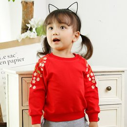 Wholesale Kids Sweaters Fashion - Baby Clothes INS Autumn Girls Tops Long-sleeved T-shirt Fashion Embroidery Flowers Sweater Hoody Pullover Children Kids Clothing 167