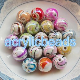 Wholesale Zebra Love - 50pcs Factory 8-18M Plastics Draw Painted AB Colors Round Zebra Striped Acrylic Beads DIY Jewelry Making Charms