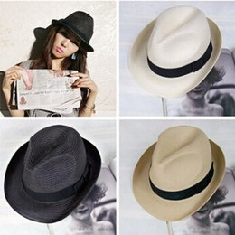Wholesale Straw Jazz Hats - 2017 high quality new unique personality beach sun hat, straw hat, bow tie dome dome jazz hat wholesale DHL free shipping