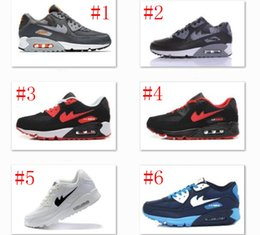 Wholesale Leather Ski Golves - Mens Sneakers Shoes classic 90 Men Running Shoes Black Red White Sports Trainer Air Cushion Surface Breathable Sports Shoes 40-45