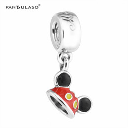 Wholesale Pandora Hat - Pandulaso Disny Micky Mouse Hat Beads for jewelry making Fits Pandora charms Bracelets Woman DIY Silver 925 Jewelry 2017 Summer