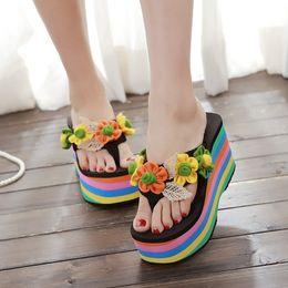 Wholesale Boho Wedges - Womens Sweet Floral Platform High Wedge Heel Sandals Slip On Slipper Shoes Beach Flowers Princess Platform BOHO YHU376