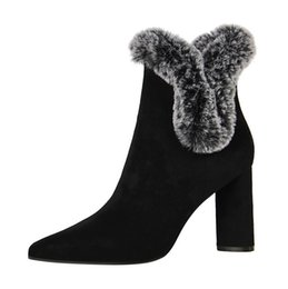 Wholesale Rabbit Fur Tanning - Short tube boots thick with high heel sexy rabbit fur female boots winter boots with high heels For women . XZ-092