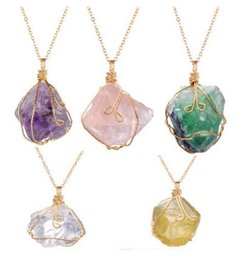 Wholesale Wholesale Gold Filled Wire - Natural stone irregular crystal twisted wire necklace women's necklace