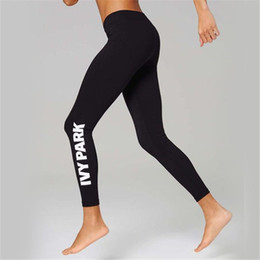 Wholesale Leggings Womens Black M - 2016 new hot ladies Beyonce IVY PARK letters print breathable stretch long pant skinny leggings womens sport joggers