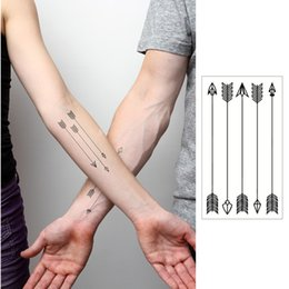 Wholesale Fake Tatoo Waterproof - Wholesale-Small Arrow Flash Tattoo Hand Sticker 10.5*6cm Waterproof Henna Beauty Selfie Tatoo Fake Temporary Body Art Tattoo Sticker