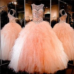 Wholesale peach organza dresses - 2017 Peach Quinceanera Dresses Sheer Crystal Beading Rhinestone Ruffled Tulle Ball Gown Sweet 16 Dresses Lace-up Back Custom