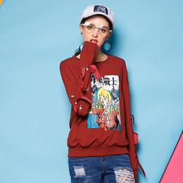 Wholesale Comic Ties - Japanese Comics Print Hoodies Sweatshirts Fashion Hooded Sweats Tops Hip Hop Bow tie Graphic Pullover