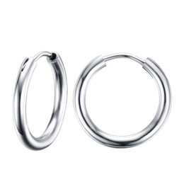 Wholesale Small Earrings For Cartilage - Stunning Round Small Endless Hoop Earrings For Women Stainless Steel Small Tube Earrings for Cartilage EH-155