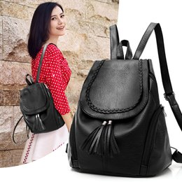 Wholesale Cross Body Bags For School - Brand Designer High Quality Soft Leather Backpacks For Teenage Girls Sac A Main Women Vintage Tassel School Backpack
