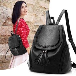 Wholesale High School Tassels - Brand Designer High Quality Soft Leather Backpacks For Teenage Girls Sac A Main Women Vintage Tassel School Backpack