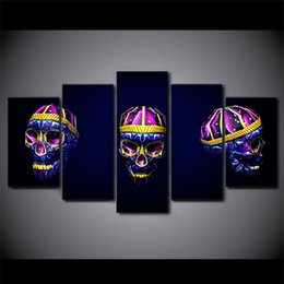 Wholesale Nude Oil Painting Large - 5 Pcs Set Framed HD Printed Skull Art Bright Wall Art Picture Canvas Print Poster Large Canvas Oil Paintings