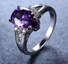 Anéis roxos de ouro branco on-line-Ametista Roxo das mulheres Gota de Água Anel de Ouro Branco Cheio Anéis De Casamento Do Vintage Para Homens E Mulheres Moda Jóias